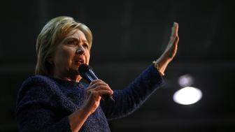 FAIRFIELD, AL - FEBRUARY 27:  Democratic presidential candidate former Secretary of State Hillary Clinton speaks during a 'Get Out The Vote' at Miles College on February 27, 2016 in Fairfield, Alabama. Hillary Clinton held a campaign rally in Alabama before returning to South Carolina for her South Carolina primary night event.  (Photo by Justin Sullivan/Getty Images)