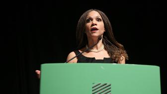 NEW YORK, NY - FEBRUARY 10:  Journalist Melissa Harris-Perry accepts the Ida B. Well Revolution Award for Excellence in Journalism at the 'Cocktails, Cinema & Revolution,' A Celebration Of Black Excellence at the SVA Theater on February 10, 2016 in New York City.  (Photo by J. Countess/FilmMagic)