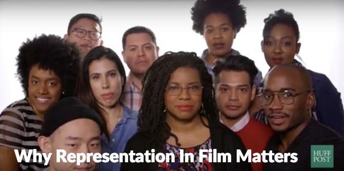 April Reign (center) poses with several HuffPosters in a video discussing why representation in film matters.