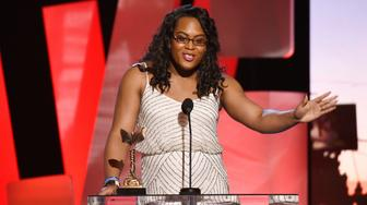 SANTA MONICA, CA - FEBRUARY 27:  Actress Mya Taylor speaks onstage during the 2016 Film Independent Spirit Awards on February 27, 2016 in Santa Monica, California.  (Photo by Kevork Djansezian/Getty Images)