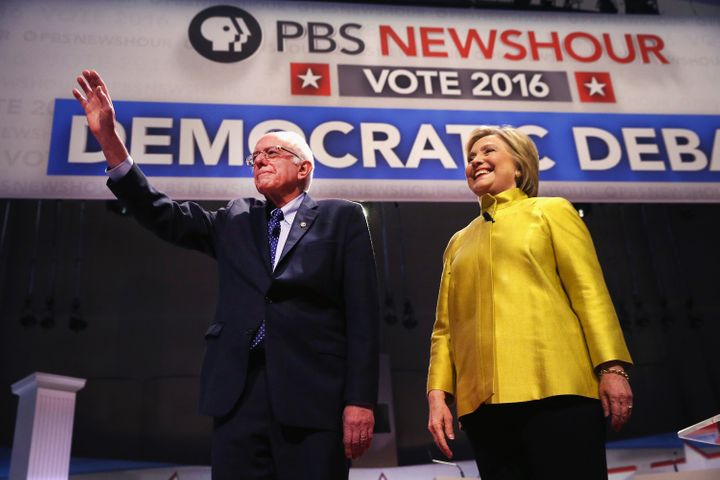 Sen.Bernie Sanders and Hillary Clinton participate in the PBS NewsHour Democratic presidential candidate debate on Feb.