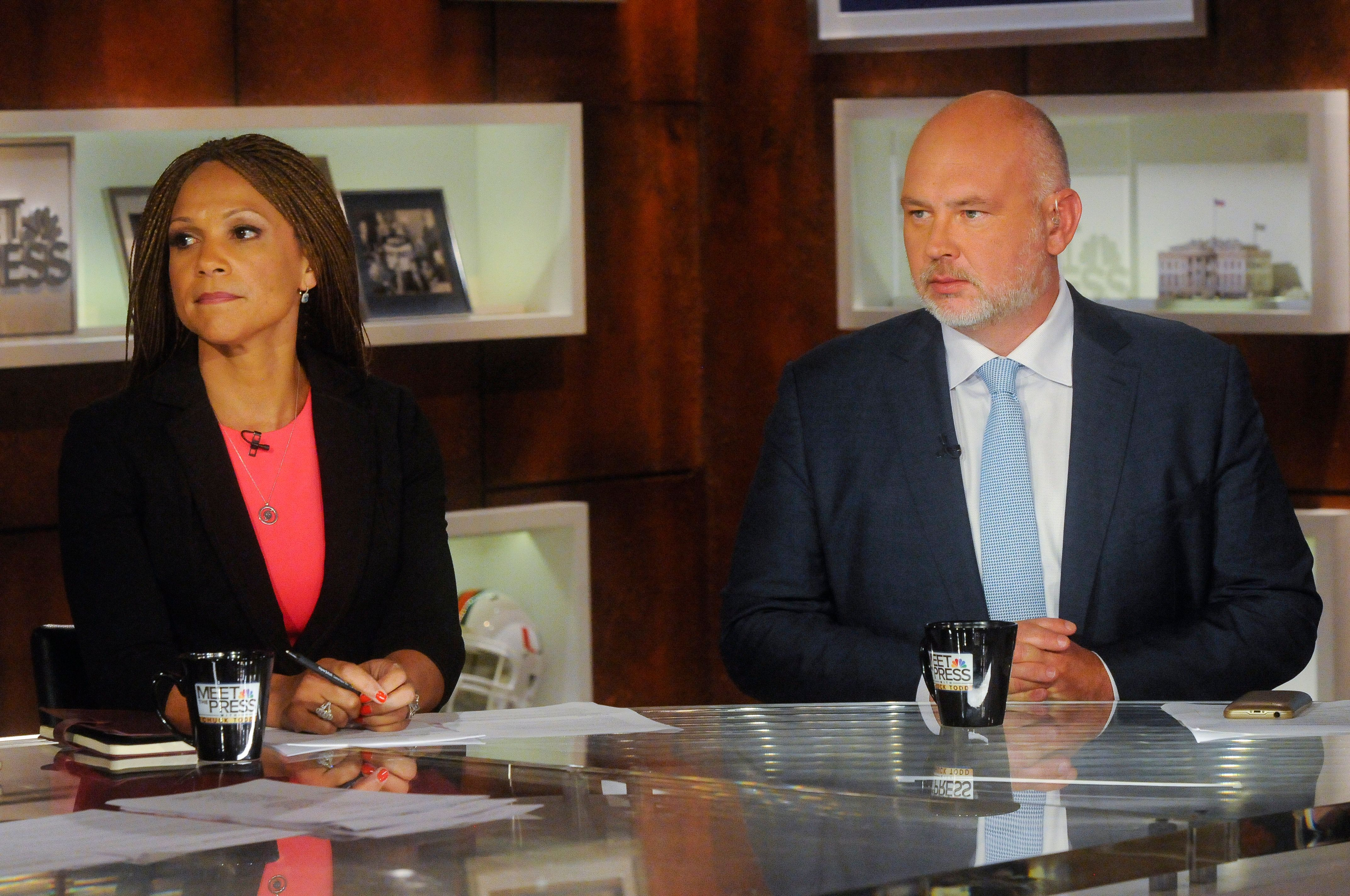 MEET THE PRESS -- Pictured: (l-r)  Melissa Harris-Perry, Host, MSNBCs Melissa-Harris Perry,' left, and Steve Schmidt, Republican Strategist, right, appear on 'Meet the Press' in Washington, D.C., Sunday Aug, 30, 2015.  (Photo by: William B. Plowman/NBC/NBC NewsWire via Getty Images)