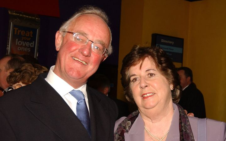 """Irish actor Frank Kelly and his wife,Bairbre,at the 2003 premiere of his film """"Evelyn"""" in Dublin."""