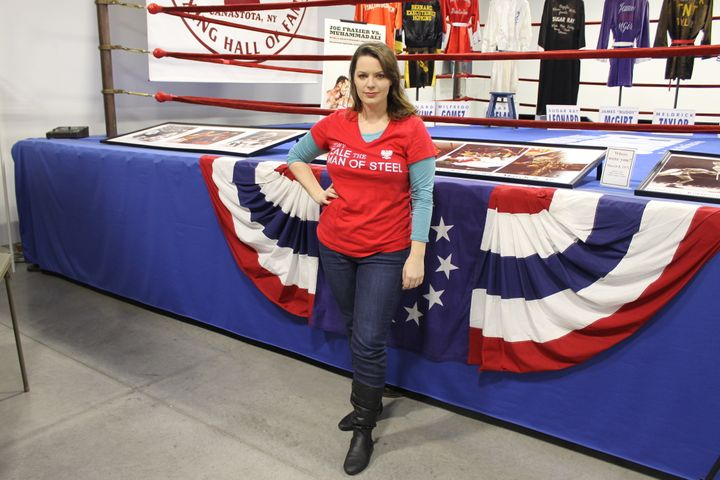 Tony Zale's grandniece Haley Zale in front of the ring where he fought four of his career fights.