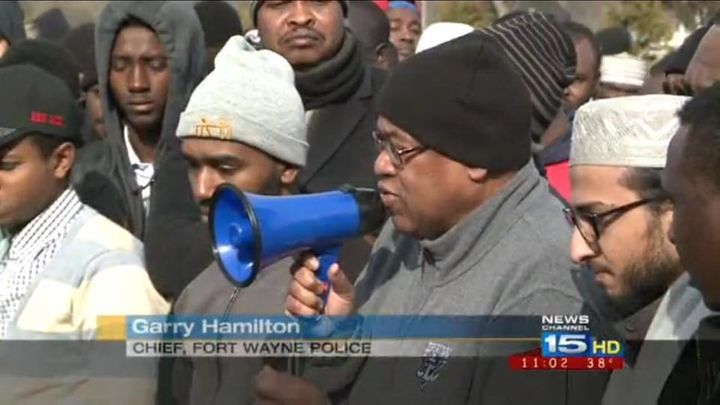 Fort Wayne police chief Garry Hamilton speaks at the funeral of three young men killed in Fort Wayne, Indiana.