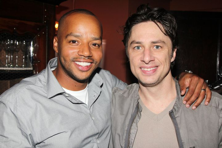 Donald Faison and Zach Braff (co-stars from the television show 'Scrubs') pose backstage at the hit musical 'Bullets Over Bro