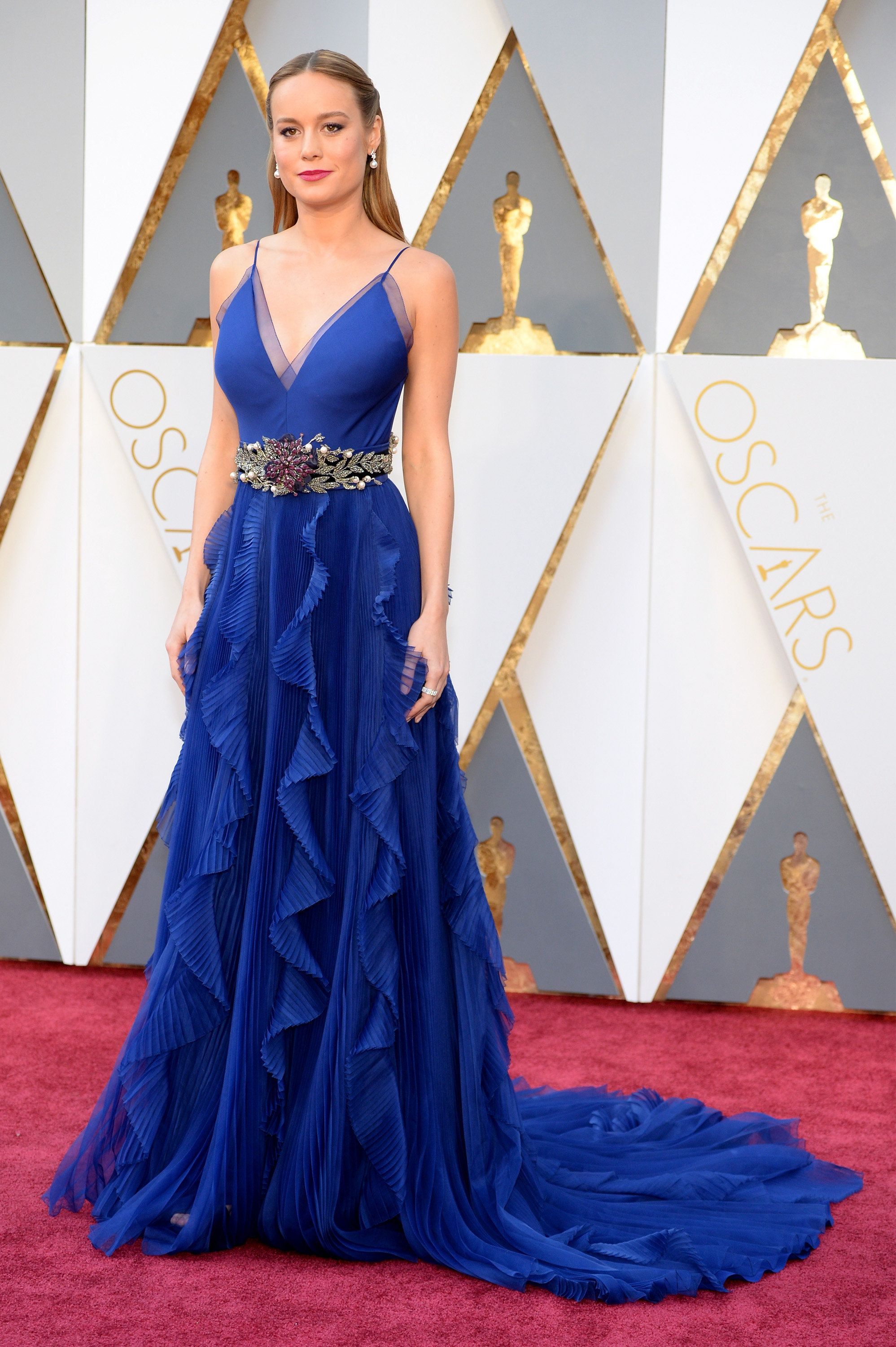 Brie Larson Is Breathtaking In Blue On The Oscars Red Carpet ...