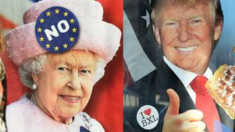 A combo picture made and taken on February 29, 2016 in Brussels shows two women walking by a bus stop with an advertisement campaign for a Belgium radio news channel picturing British Queen Elizabeth II with a logo reading 'No' on her hat referring to the upcoming British referendum on the countrys staying or not in the European Union (L) and US presidential candidate Donald Trump eating a waffle, in reference to Trump calling Brussels a hellhole, due to the amount of its Muslim population (R). La Premiere, a radio channel belonging to the Radio Television Belge Francophone (RTBF), a Belgian public broadcasting channel, launched advertisements featuring British Queen Elizabeth US presidential candidate Donald Trump, to promote their news programs. / AFP / EMMANUEL DUNAND        (Photo credit should read EMMANUEL DUNAND/AFP/Getty Images)