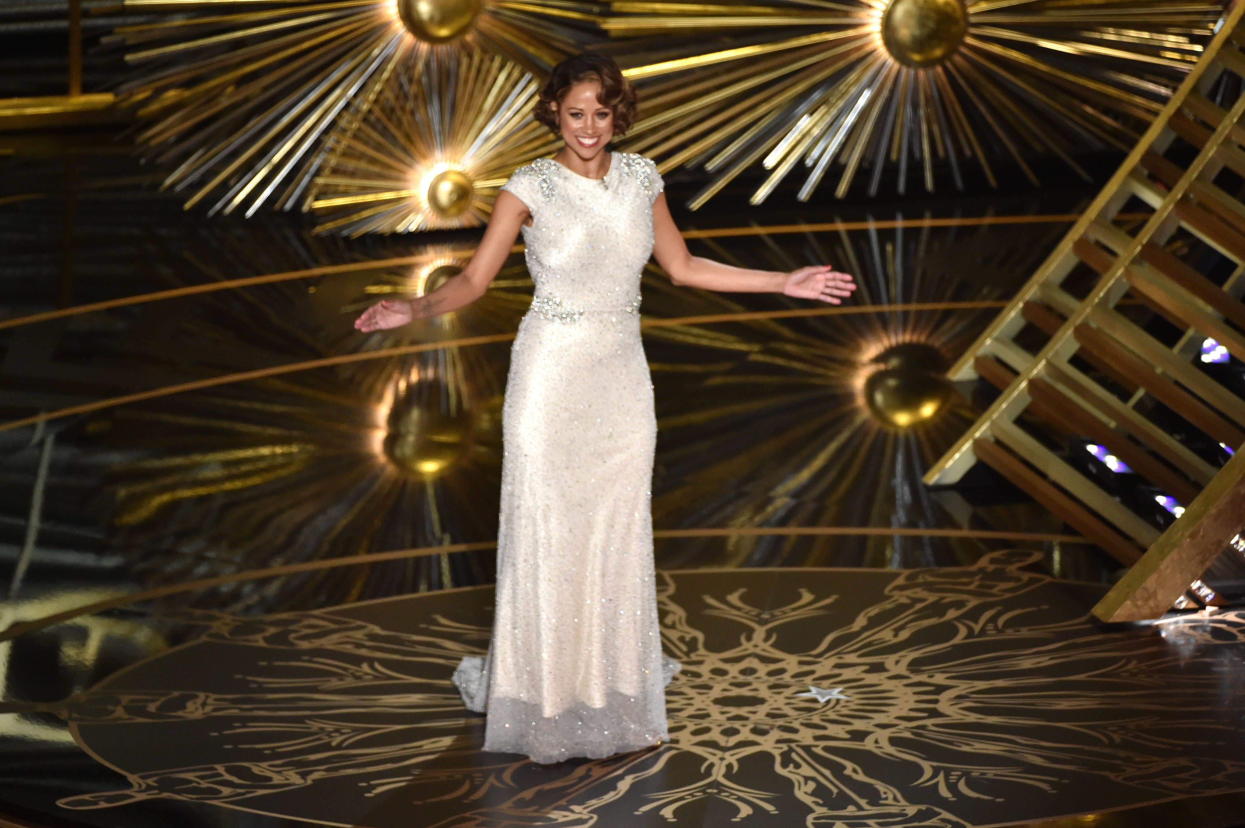 HOLLYWOOD, CA - FEBRUARY 28:  Actress Stacey Dash speaks onstage during the 88th Annual Academy Awards at the Dolby Theatre on February 28, 2016 in Hollywood, California.  (Photo by Kevin Winter/Getty Images)