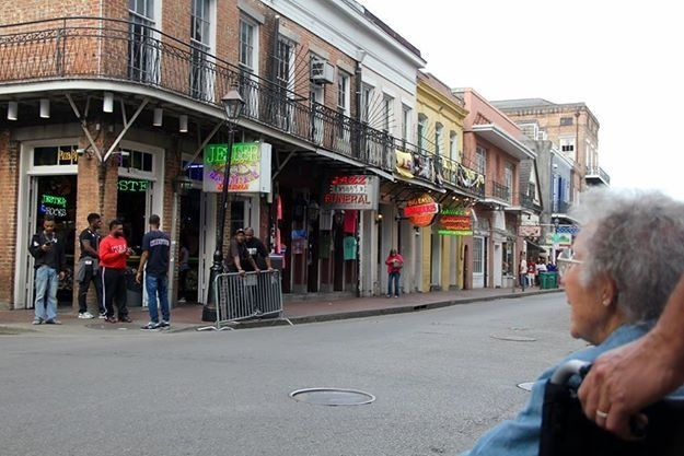 Norma checking out Bourbon Street in New Orleans.