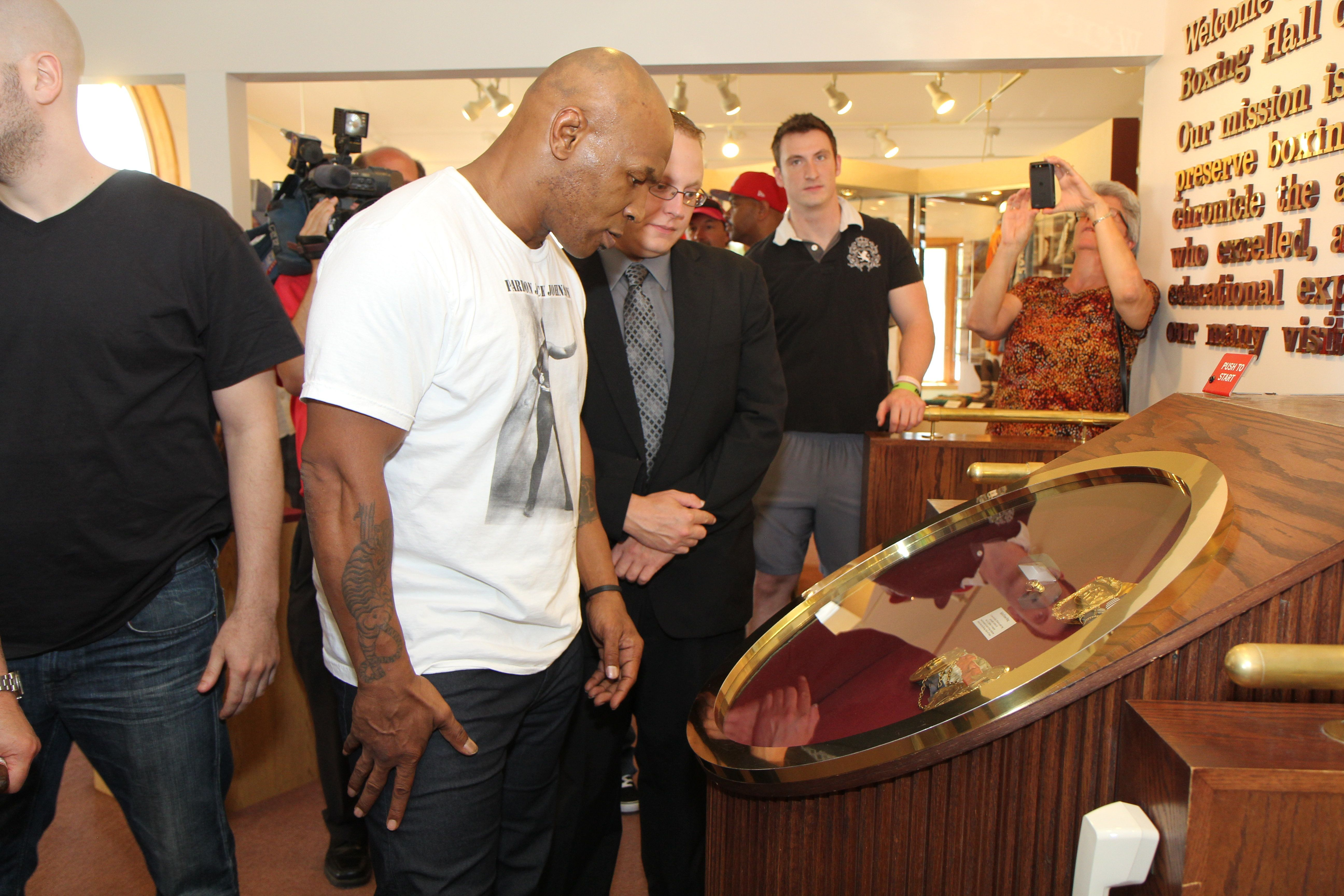 Mike Tyson visitsthe Boxing Hall of Fame in Canasota, New York.