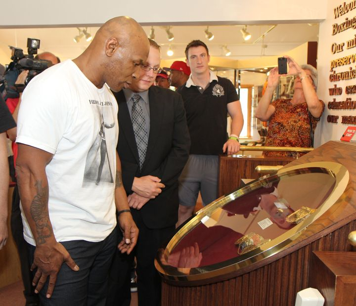 Mike Tyson visits the Boxing Hall of Fame in Canasota, New York.