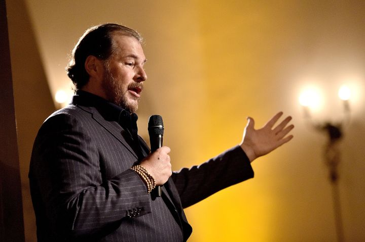 Salesforce chief executive Marc Benioff talking about equality last week in Beverly Hills, Calif.