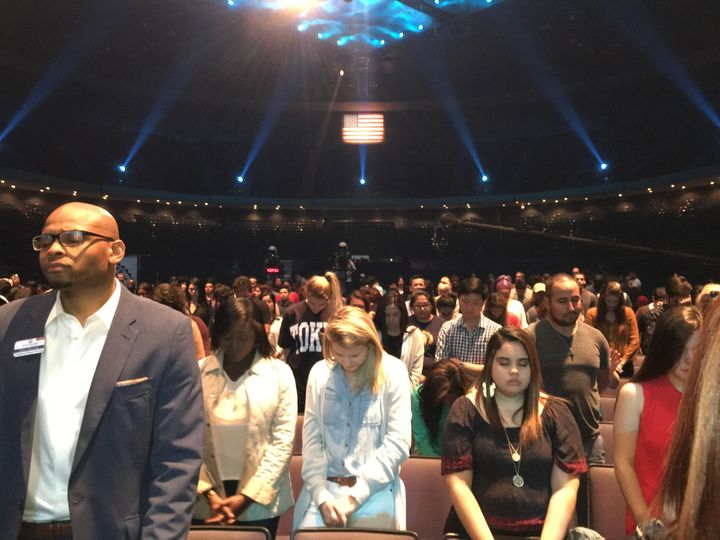 Evangelical worshippers are seen at Lakewood Church in Houston.