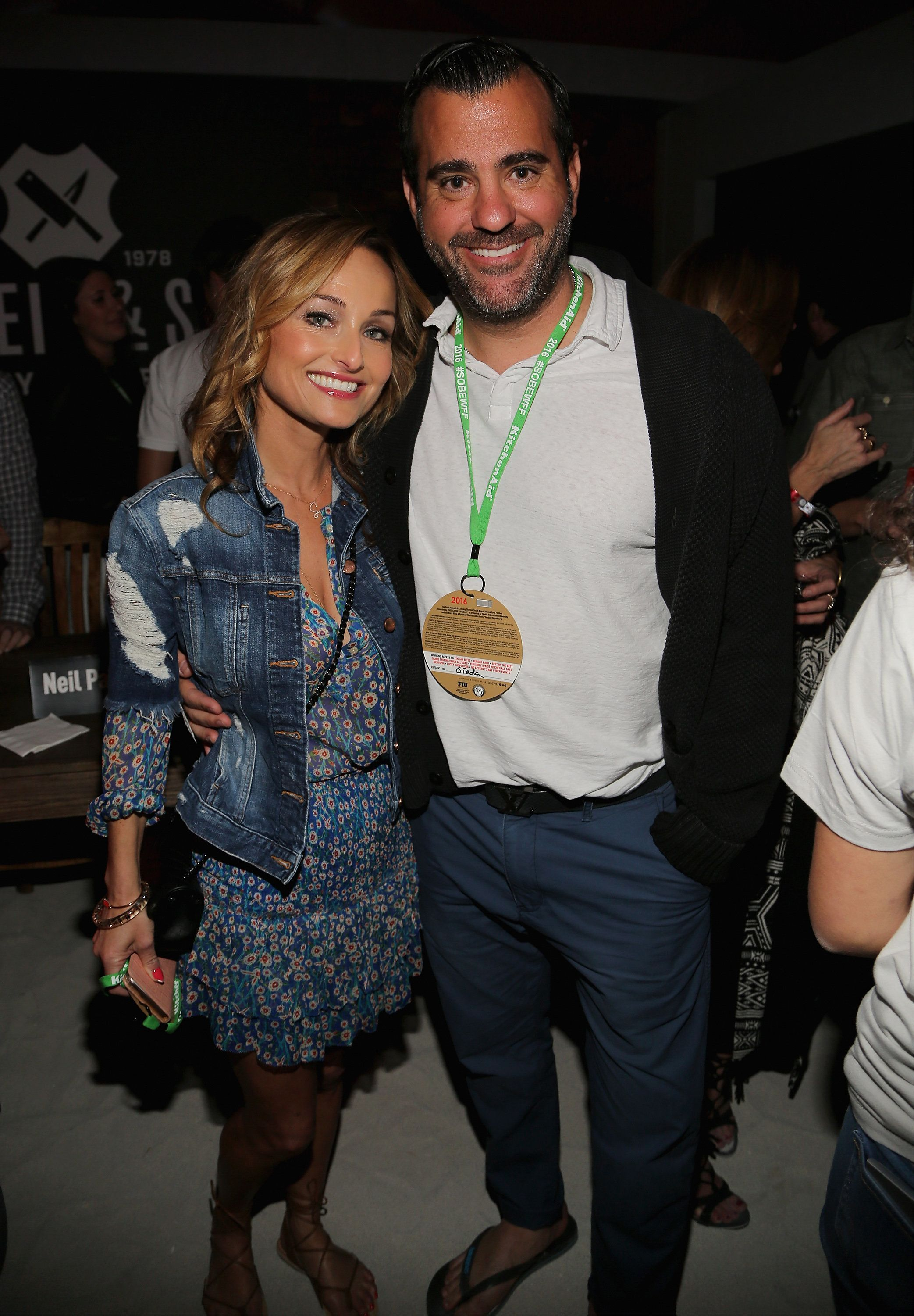 Giada De Laurentiis and Shane Farley attend the Burger Bash beach party held in Miami