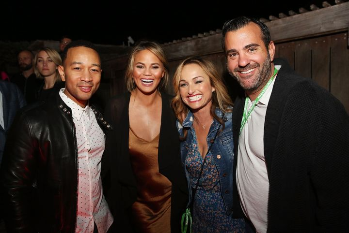 De Laurentiis and Farley stopped and chatted with John Legend and Chrissy Teigen.