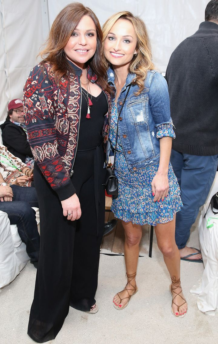 Rachael Ray and Giada De Laurentiis hang out at the Burger Bash in Miami, Florida.