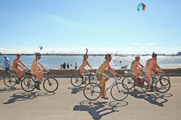 About 200 scantily clad cyclists participated in the naked bike ride, which took place on a 15-kilometer stretch of road near
