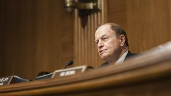 WASHINGTON, USA - JULY 16: Committee Chairman Senator Richard Shelby asks Janet Yellen, Federal Reserve Chair, questions during a Senate Banking, Housing, and Urban Affairs Committee hearing on The Semiannual Monetary Policy Report to the Congress. in Washington, USA on JULY 16, 2015. (Photo by Samuel Corum/Anadolu Agency/Getty Images)