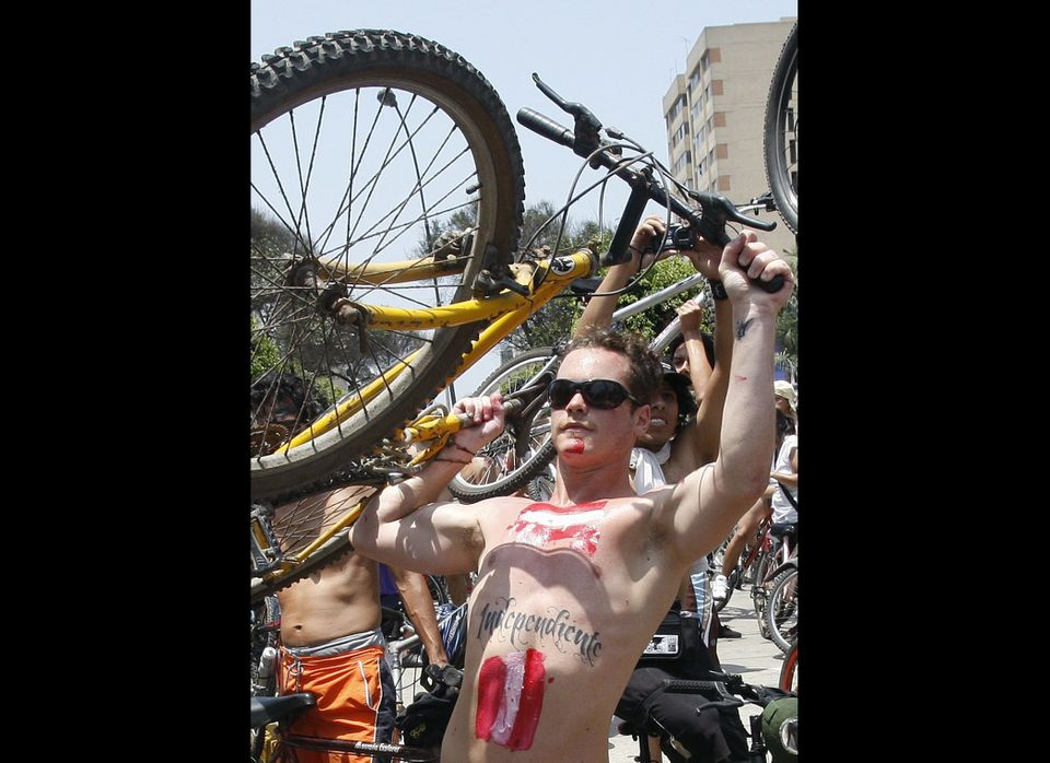 Hundreds of nude and semi-nude cyclists demanding that authorities stop the hostilities bicyclists face from motorists, hold