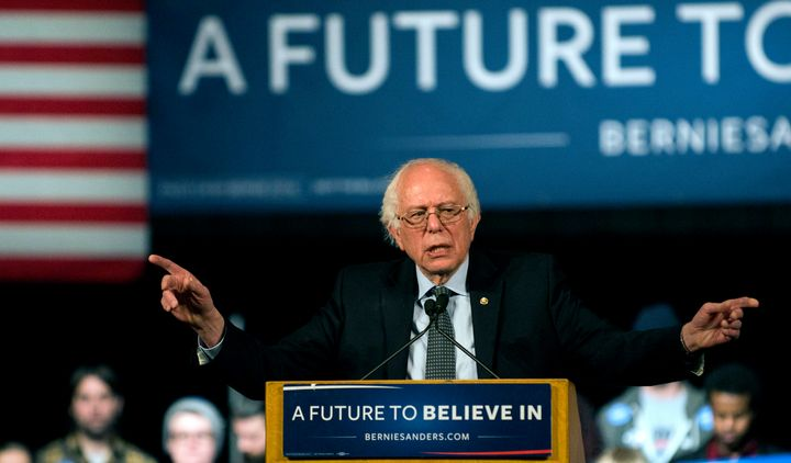 Democratic presidential candidate Sen. Bernie Sanders (I-Vt.) speaks to a crowd of supporters at the Minneapolis Convention Center on Feb. 29, 2016, in Minneapolis, Minnesota.