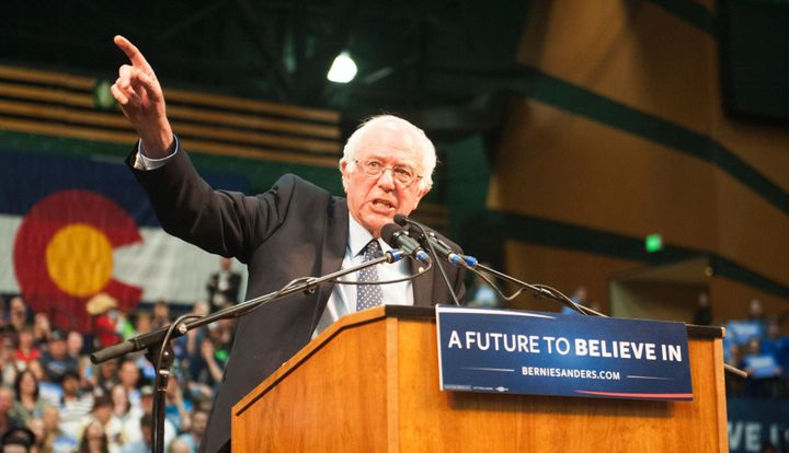 Sen. Bernie Sanders (I-Vt.) speaking at a rally in Ft. Collins, Colorado on Feb. 28, a state with a caucus on Tuesday. H