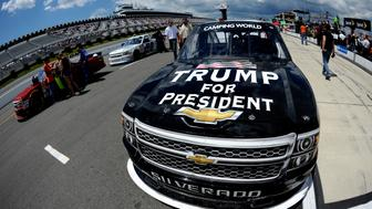 LONG POND, PA - AUGUST 01:  The truck of Korbin Forrister, driver of the #08 Trump for President Chevrolet, is seen on the grid prior to the NASCAR Camping World Truck Series Pocono Mountains 150 at Pocono Raceway on August 1, 2015 in Long Pond, Pennsylvania.  (Photo by Jared C. Tilton/Getty Images)