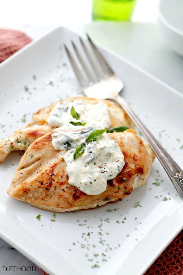 "Get the <a href=""http://diethood.com/basil-feta-sauce-chicken/"" target=""_blank"">Basil-Feta Sauce Chicken recipe</a> from"
