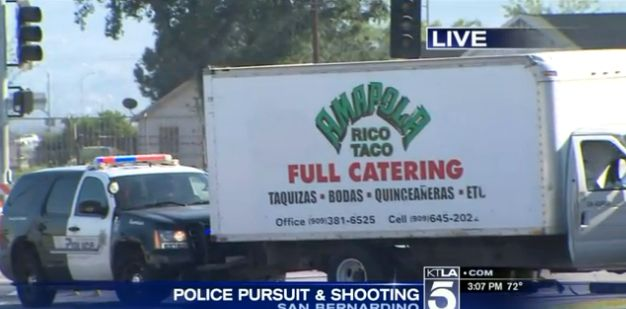 Police surround the stolen taco truck.
