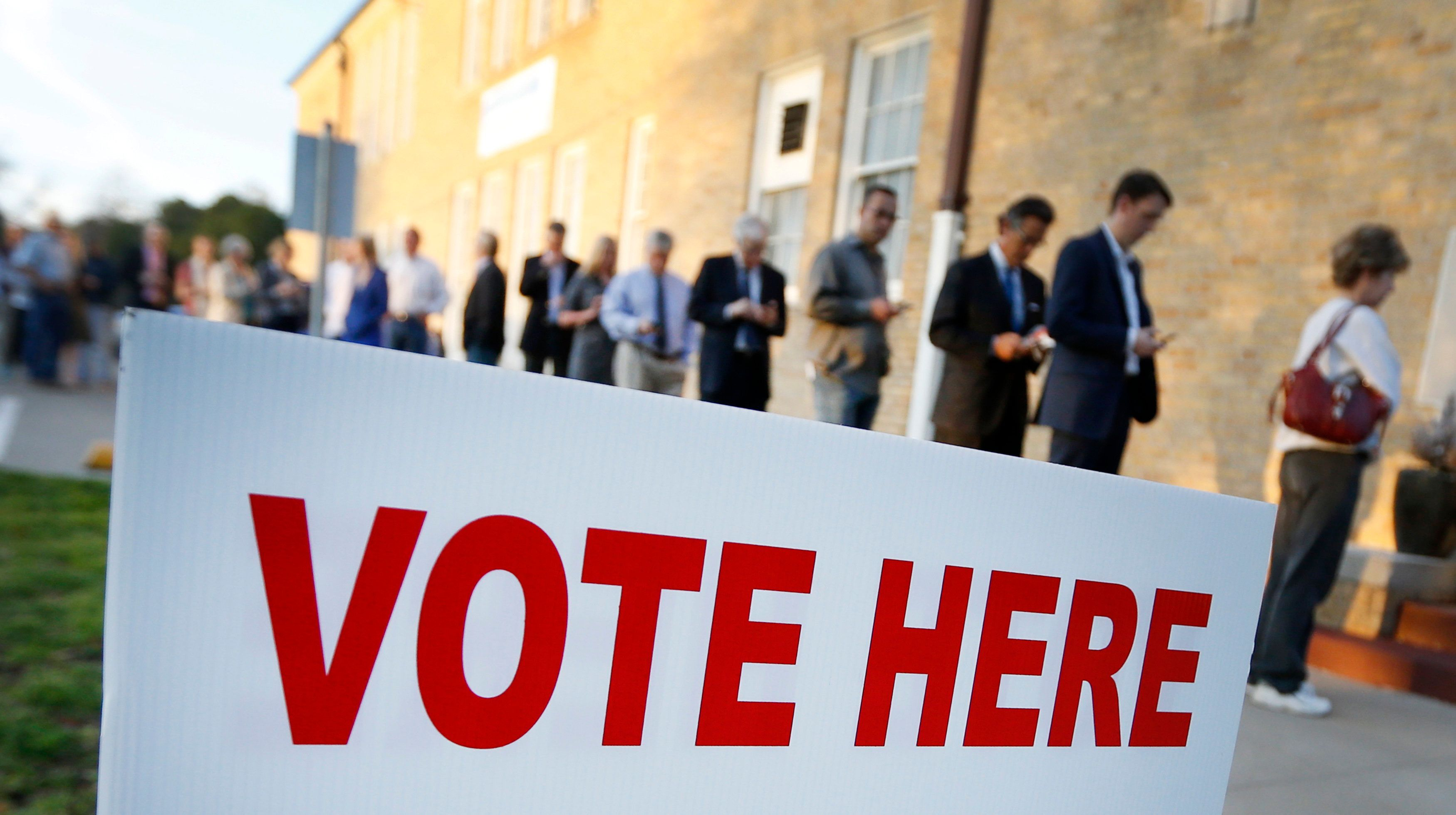 FORT WORTH, TX - MARCH 1: Voters line up to cast their ballots on Super Tuesday March 1, 2016 in Fort Worth, Texas. 13 states and American Samoa are holding presidential primary elections, with over 1400 delegates at stake. (Photo by Ron Jenkins/Getty Images)