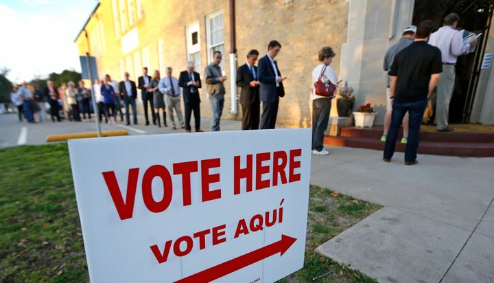 Voters line up to cast their ballots on Super Tuesday, March 1, 2016, in Fort Worth, Texas. Hopefully, they all have an accep