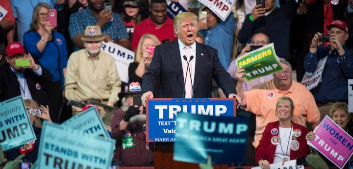 Republican presidential front-runner Donald Trump speaks during a campaign event in Valdosta, Georgia, Feb. 29, 201