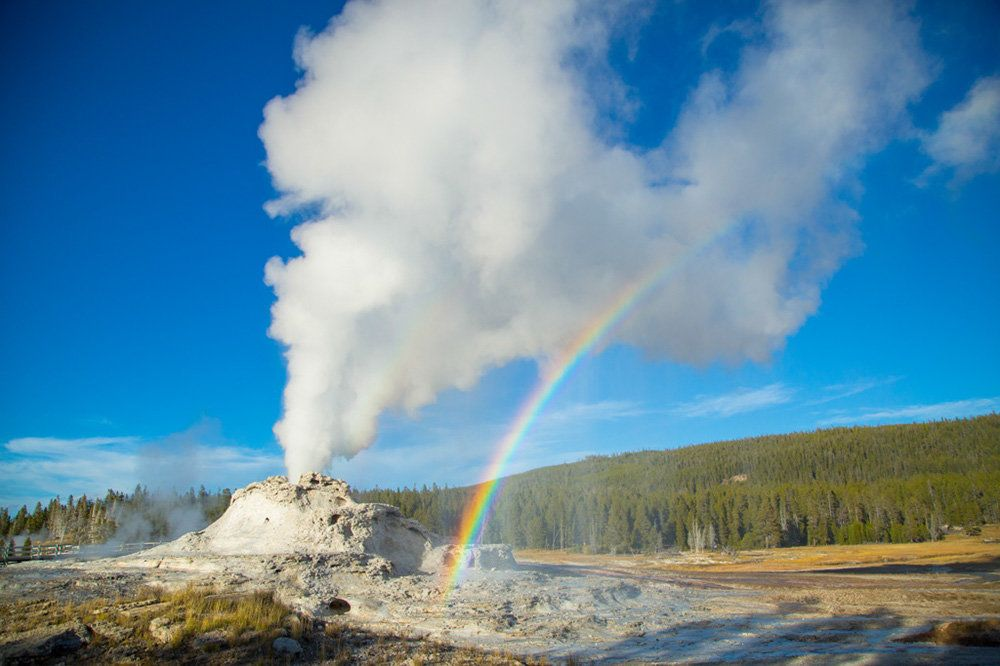 Castle Geyser erupts at Yellowstone National Park.