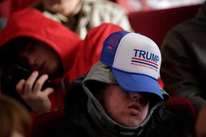 A man sleeps before a campaign event for Republican presidential candidate Donald Trump on Jan.23, 2016, in Pella, Iowa