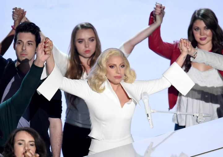 Singer-songwriter Lady Gaga performs onstage during the 88th Annual Academy Awards at the Dolby Theatre on February 28, 2016