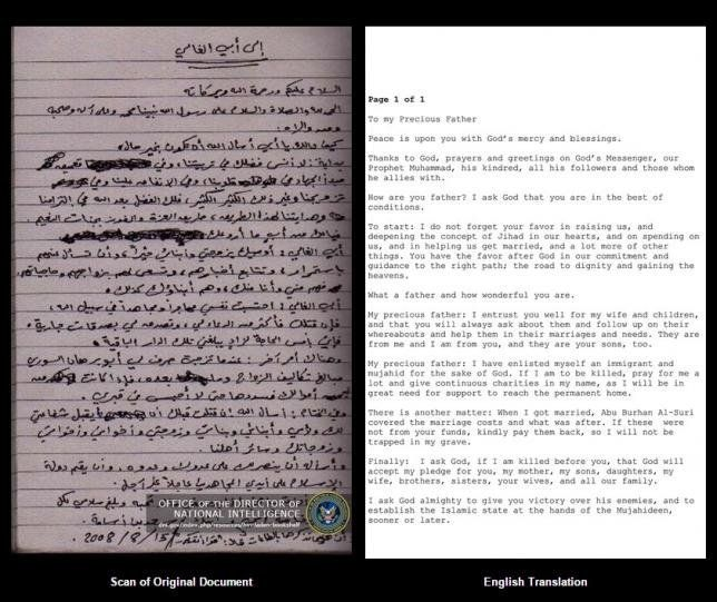 A scan of a document written by Osama bin Laden, left, and translated into English, right, is shown in this image from the of