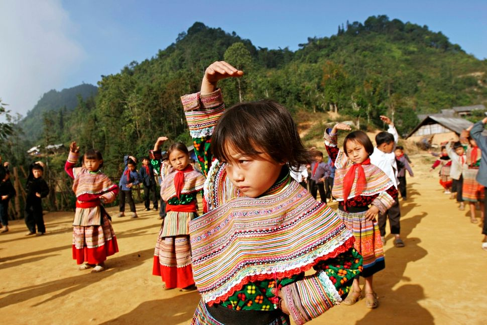 H'mong students exercise at Hoang Thu Pho primary school in Bac Ha, Lao Cai, Vietnam.