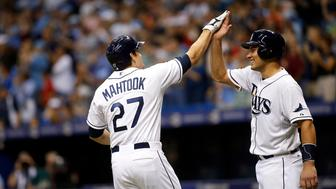 ST. PETERSBURG, FL - OCTOBER 2:  Mikie Mahtook #27 of the Tampa Bay Rays celebrates with teammate Luke Maile #46 after hitting a three-run home run off of pitcher Mark Buehrle #56 of the Toronto Blue Jays during the fifth inning of a game on October 2, 2015 at Tropicana Field in St. Petersburg, Florida.  (Photo by Brian Blanco/Getty Images)
