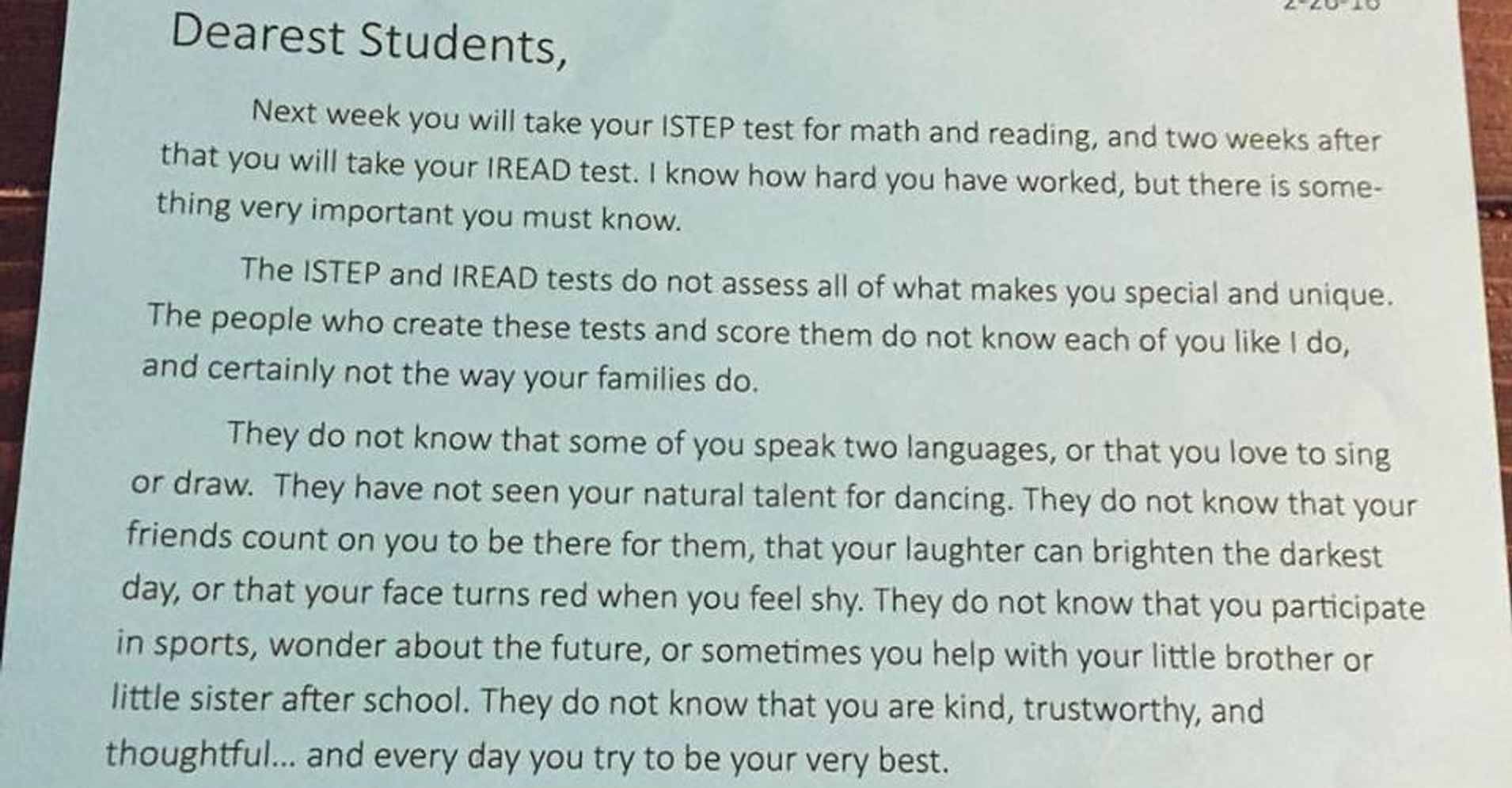 Sample Letters To Parents About Test Scores