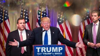PALM BEACH, FL - MARCH 1: Republican presidential candidate Donald Trump speaks, alongside New Jersey Gov. Chris Christie, left, during a campaign press event at the Mar-A-Lago Club in Palm Beach, FL on Tuesday March 01, 2016. (Photo by Jabin Botsford/The Washington Post via Getty Images)