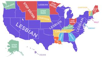 "The most popular, X-rated search term among all 50 U.S. states on Pornhub.com was ""lesbian,"" a survey found."