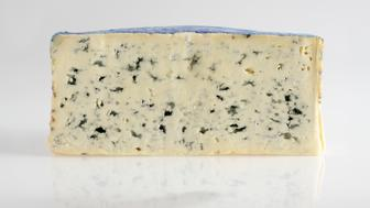 Slice of French Bleu d'Auvergne AOC cow's milk cheese