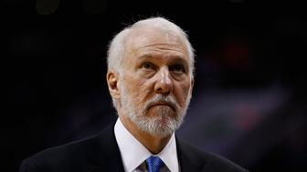 PHOENIX, AZ - FEBRUARY 21:  Head coach Gregg Popovich of the San Antonio Spurs during the NBA game against the Phoenix Suns at Talking Stick Resort Arena on February 21, 2016 in Phoenix, Arizona. The Spurs defeated the Suns 118-111.  NOTE TO USER: User expressly acknowledges and agrees that, by downloading and or using this photograph, User is consenting to the terms and conditions of the Getty Images License Agreement.  (Photo by Christian Petersen/Getty Images)
