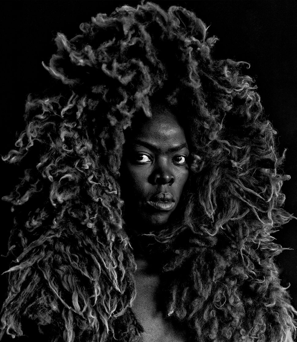 Somnyama Ngonyama II, Oslo,Zanele Muholi,2015. Silver gelatin print Image and paper 50 x 43.6cm