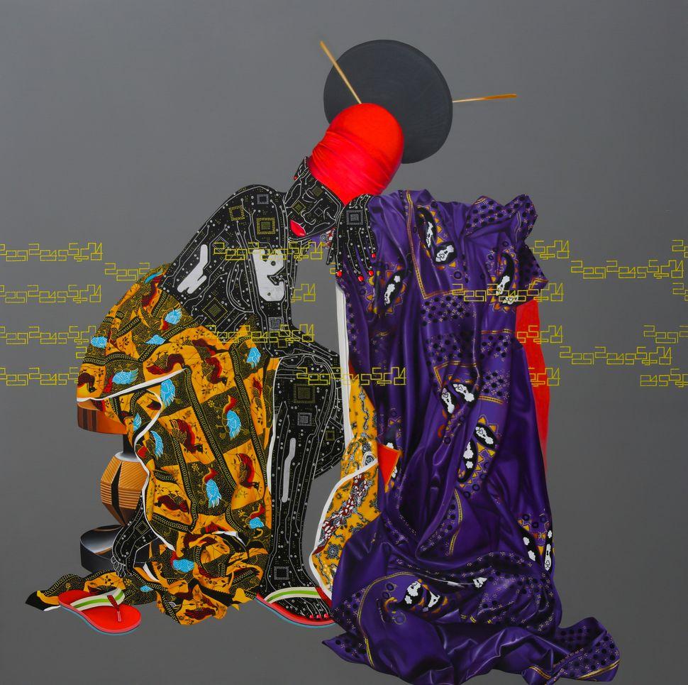 Abandonn¬s, Eddy Kamuanga Ilunga, 2015, Acrylic and oil on canvas, 200 x 200 cm