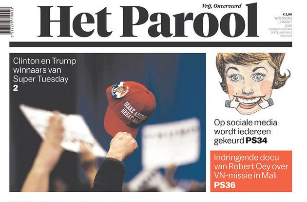 Dutch daily newspaper Het Parool featured a front page showingDonald Trump and Hillary Clinton...