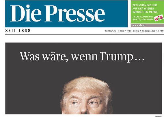 The Austriannewspaper Die Presse ran a front-page story on Trump's victory the day after Super Tuesday.