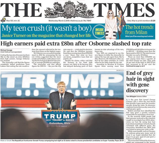 Britain's The Times newspaper also featured Trump on its front page. Newspapers around the world viewed...