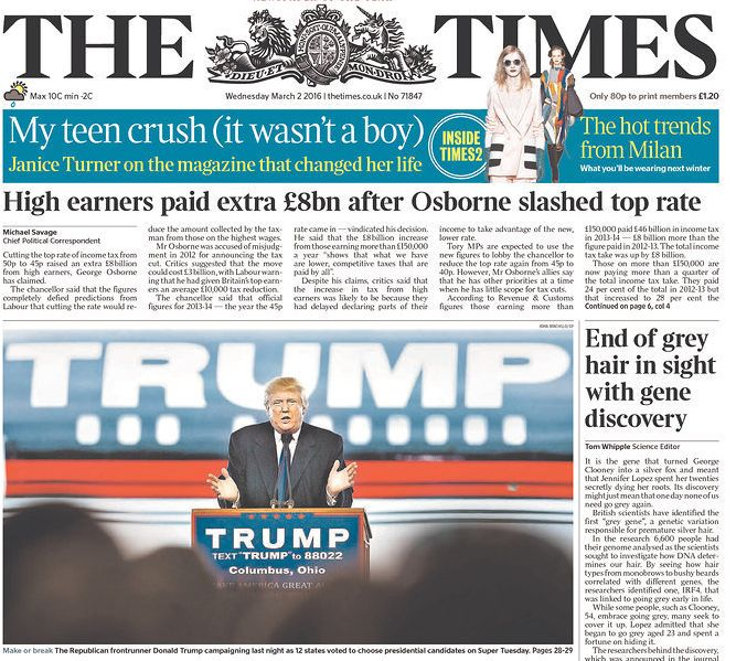 Britain's The Times newspaper also featured Trump on its front page. Newspapers around the world viewed his campaign as posin