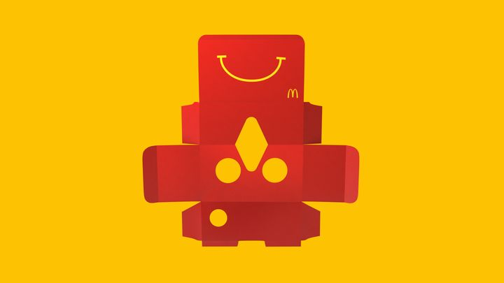 The cardboard Happy Meal boxes can be folded into the VR headsets. Users can then slip their smartphone inside and play a ski game.